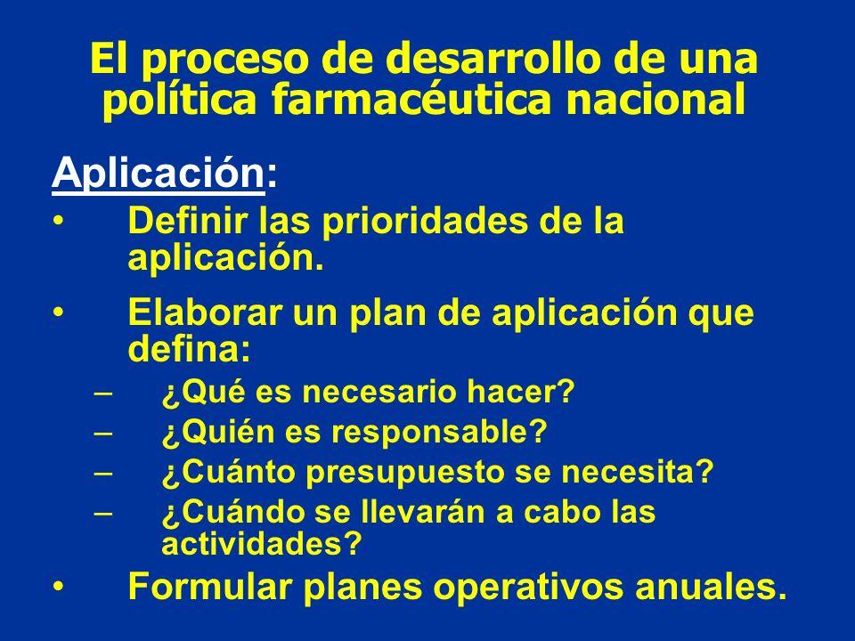 El proceso de desarrollo de una política farmacéutica nacional Aplicación: Definir las prioridades de la aplicación. Elaborar un plan de aplicación qu