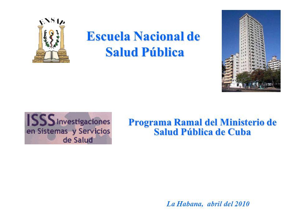 Programa Ramal del Ministerio de Salud Pública de Cuba Escuela Nacional de Salud Pública La Habana, abril del 2010