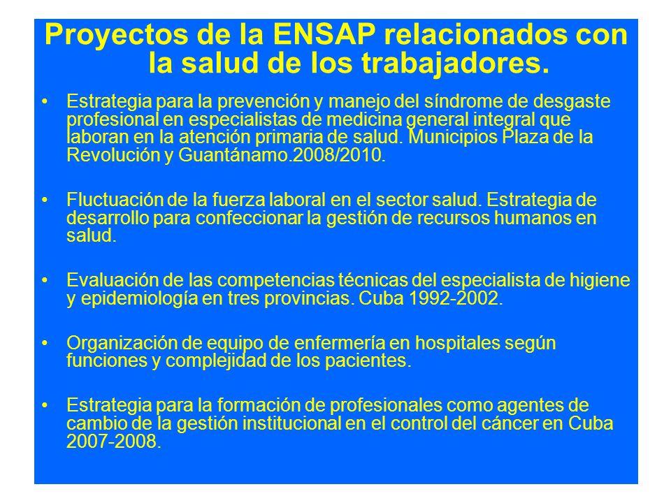 Proyectos de la ENSAP relacionados con la salud de los trabajadores. Estrategia para la prevención y manejo del síndrome de desgaste profesional en es