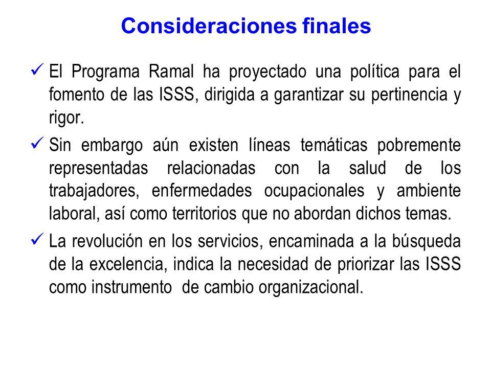 Consideraciones finales El Programa Ramal ha proyectado una política para el fomento de las ISSS, dirigida a garantizar su pertinencia y rigor. Sin em