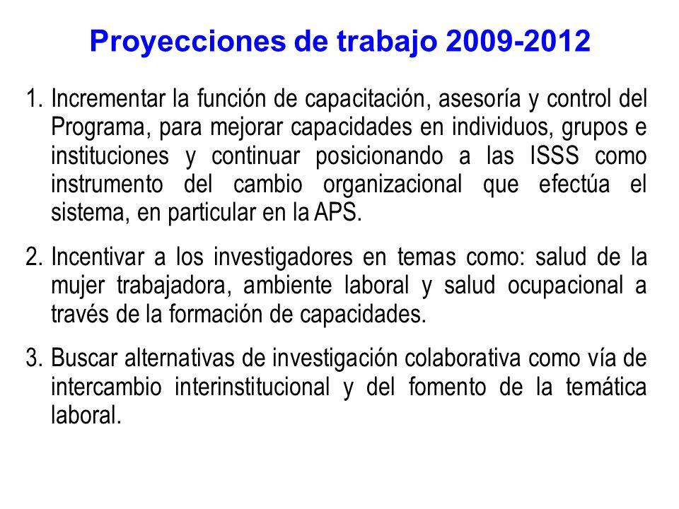 Proyecciones de trabajo 2009-2012 1.Incrementar la función de capacitación, asesoría y control del Programa, para mejorar capacidades en individuos, grupos e instituciones y continuar posicionando a las ISSS como instrumento del cambio organizacional que efectúa el sistema, en particular en la APS.