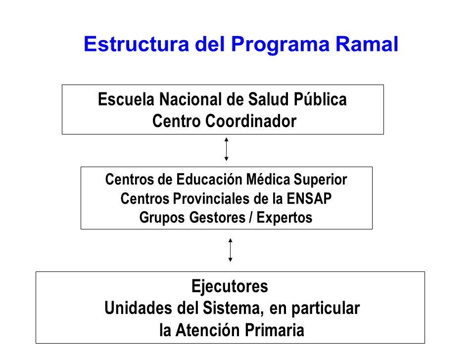 Estructura del Programa Ramal Escuela Nacional de Salud Pública Centro Coordinador Centros de Educación Médica Superior Centros Provinciales de la ENSAP Grupos Gestores / Expertos Ejecutores Unidades del Sistema, en particular la Atención Primaria