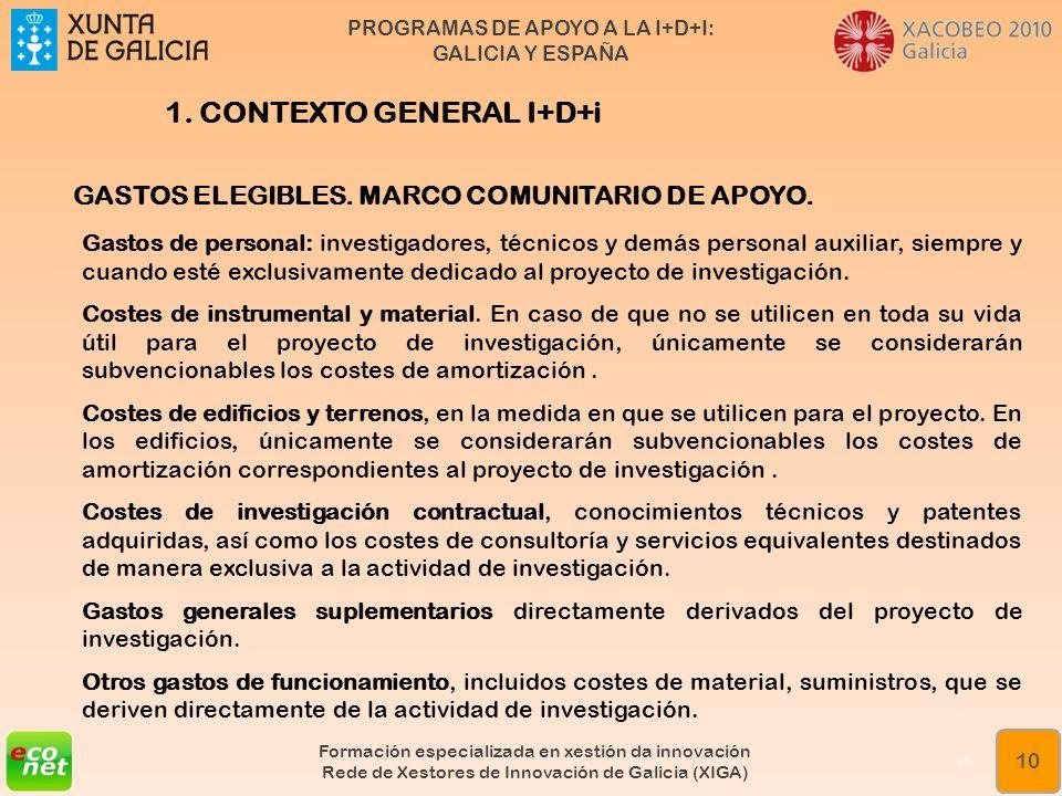 PROGRAMAS DE APOYO A LA I+D+I: GALICIA Y ESPAÑA Formación especializada en xestión da innovación Rede de Xestores de Innovación de Galicia (XIGA) 10 1