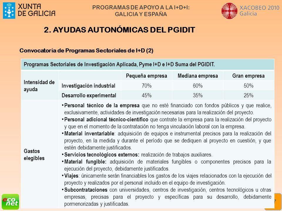 PROGRAMAS DE APOYO A LA I+D+I: GALICIA Y ESPAÑA Formación especializada en xestión da innovación Rede de Xestores de Innovación de Galicia (XIGA) 17 2