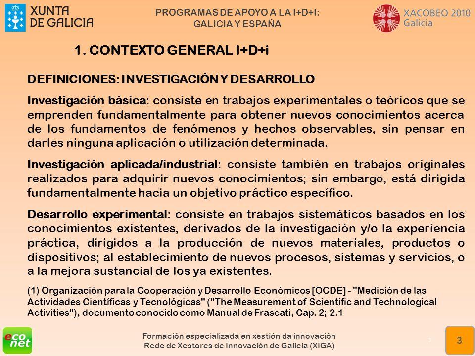 PROGRAMAS DE APOYO A LA I+D+I: GALICIA Y ESPAÑA Formación especializada en xestión da innovación Rede de Xestores de Innovación de Galicia (XIGA) 14 Índice ESTRUCTURA DE LA PRESENTACIÓN 1 CONTEXTO GENERAL DE LA I+D+i 2 AYUDAS AUTONÓMICAS DEL PLAN GALEGO DE I+D+i 2.1 Ejemplo de preparación de expediente de solicitud de ayudas 3 AYUDAS ESTATALES DE I+D+i 3.1 Ejemplo de preparación de expediente de solicitud de ayudas 3 PROGRAMAS DE LA COMISION EUROPEA.