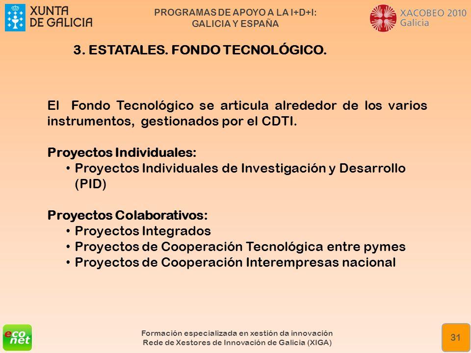 PROGRAMAS DE APOYO A LA I+D+I: GALICIA Y ESPAÑA Formación especializada en xestión da innovación Rede de Xestores de Innovación de Galicia (XIGA) 31 E