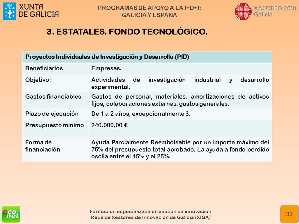 PROGRAMAS DE APOYO A LA I+D+I: GALICIA Y ESPAÑA Formación especializada en xestión da innovación Rede de Xestores de Innovación de Galicia (XIGA) 32 P