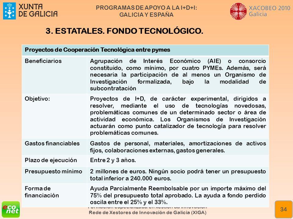 PROGRAMAS DE APOYO A LA I+D+I: GALICIA Y ESPAÑA Formación especializada en xestión da innovación Rede de Xestores de Innovación de Galicia (XIGA) 34 P