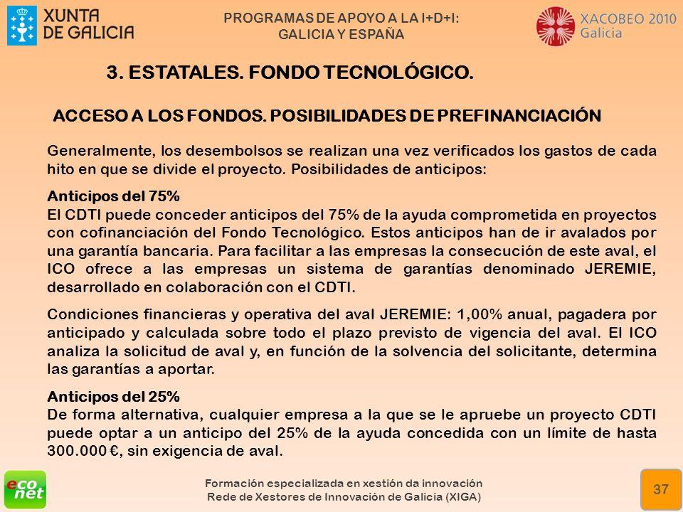 PROGRAMAS DE APOYO A LA I+D+I: GALICIA Y ESPAÑA Formación especializada en xestión da innovación Rede de Xestores de Innovación de Galicia (XIGA) 37 A