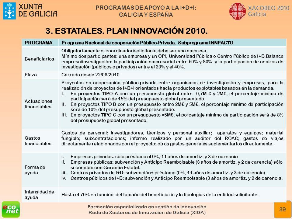 PROGRAMAS DE APOYO A LA I+D+I: GALICIA Y ESPAÑA Formación especializada en xestión da innovación Rede de Xestores de Innovación de Galicia (XIGA) 39 3
