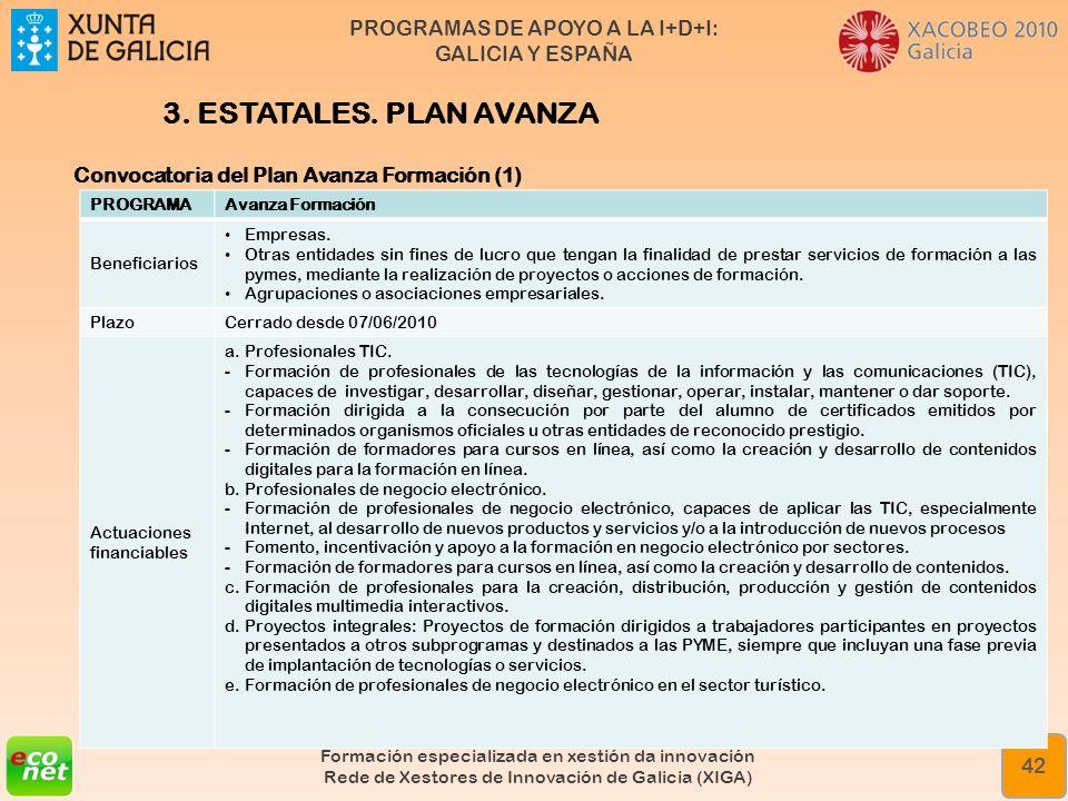 PROGRAMAS DE APOYO A LA I+D+I: GALICIA Y ESPAÑA Formación especializada en xestión da innovación Rede de Xestores de Innovación de Galicia (XIGA) 42 3