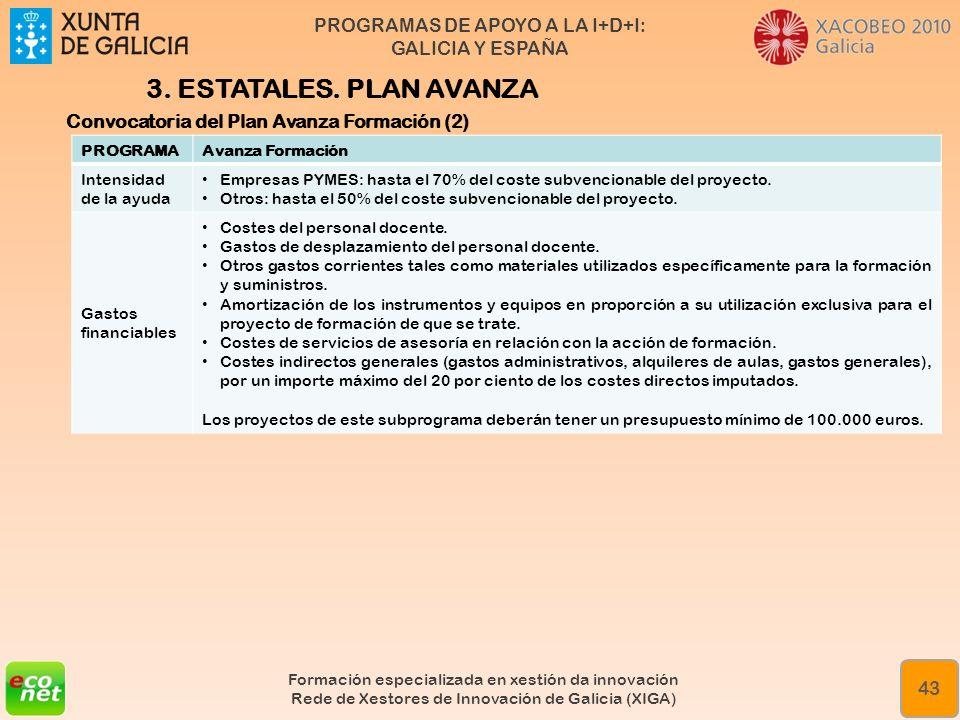 PROGRAMAS DE APOYO A LA I+D+I: GALICIA Y ESPAÑA Formación especializada en xestión da innovación Rede de Xestores de Innovación de Galicia (XIGA) 43 3