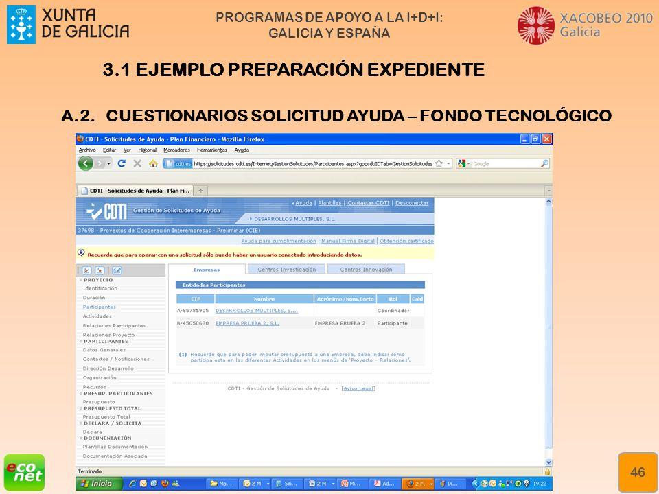 PROGRAMAS DE APOYO A LA I+D+I: GALICIA Y ESPAÑA Formación especializada en xestión da innovación Rede de Xestores de Innovación de Galicia (XIGA) 46 A