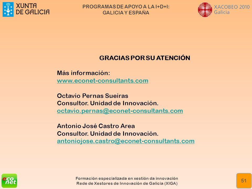 PROGRAMAS DE APOYO A LA I+D+I: GALICIA Y ESPAÑA Formación especializada en xestión da innovación Rede de Xestores de Innovación de Galicia (XIGA) 51 G