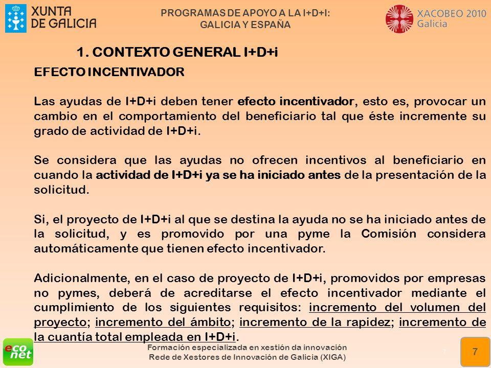 PROGRAMAS DE APOYO A LA I+D+I: GALICIA Y ESPAÑA Formación especializada en xestión da innovación Rede de Xestores de Innovación de Galicia (XIGA) 8 8 1.