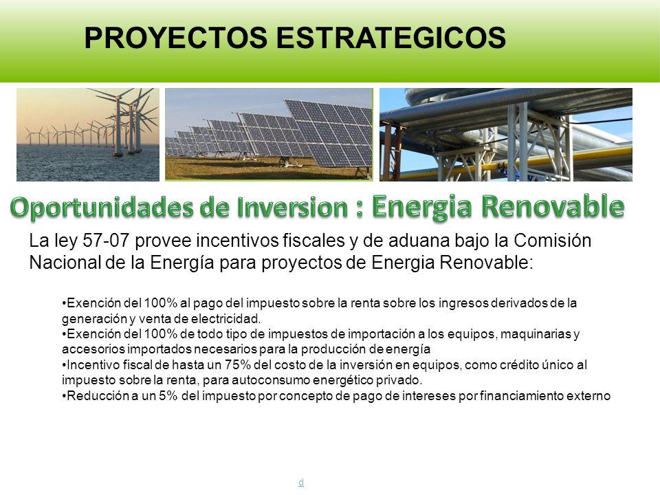 La ley 57-07 provee incentivos fiscales y de aduana bajo la Comisión Nacional de la Energía para proyectos de Energia Renovable: Exención del 100% al pago del impuesto sobre la renta sobre los ingresos derivados de la generación y venta de electricidad.