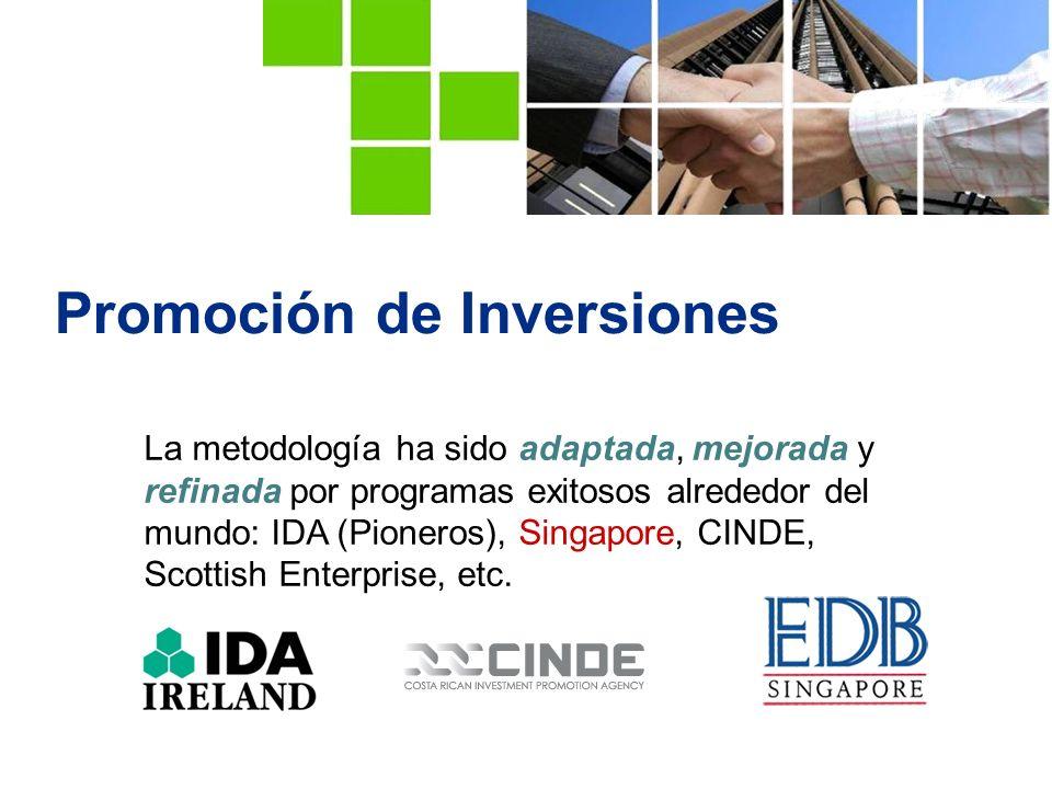 Promoción de Inversiones La metodología ha sido adaptada, mejorada y refinada por programas exitosos alrededor del mundo: IDA (Pioneros), Singapore, CINDE, Scottish Enterprise, etc.
