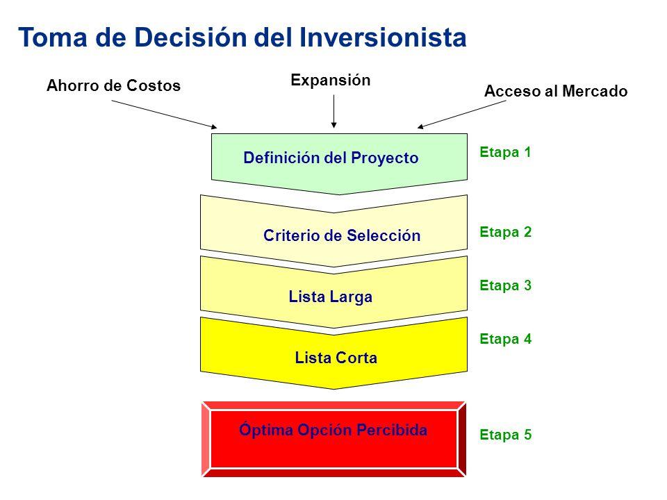 Toma de Decisión del Inversionista Ahorro de Costos Acceso al Mercado Expansión Definición del Proyecto Criterio de Selección Lista Larga Lista Corta Óptima Opción Percibida Etapa 1 Etapa 2 Etapa 3 Etapa 4 Etapa 5