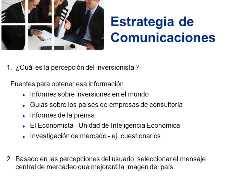 Estrategia de Comunicaciones 1.¿Cuál es la percepción del inversionista .