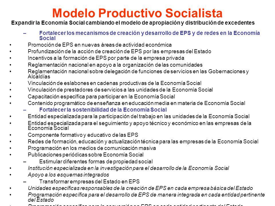 Expandir la Economía Social cambiando el modelo de apropiación y distribución de excedentes –Fortalecer los mecanismos de creación y desarrollo de EPS
