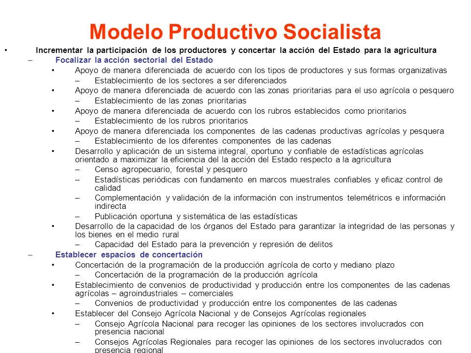 Incrementar la participación de los productores y concertar la acción del Estado para la agricultura –Focalizar la acción sectorial del Estado Apoyo d