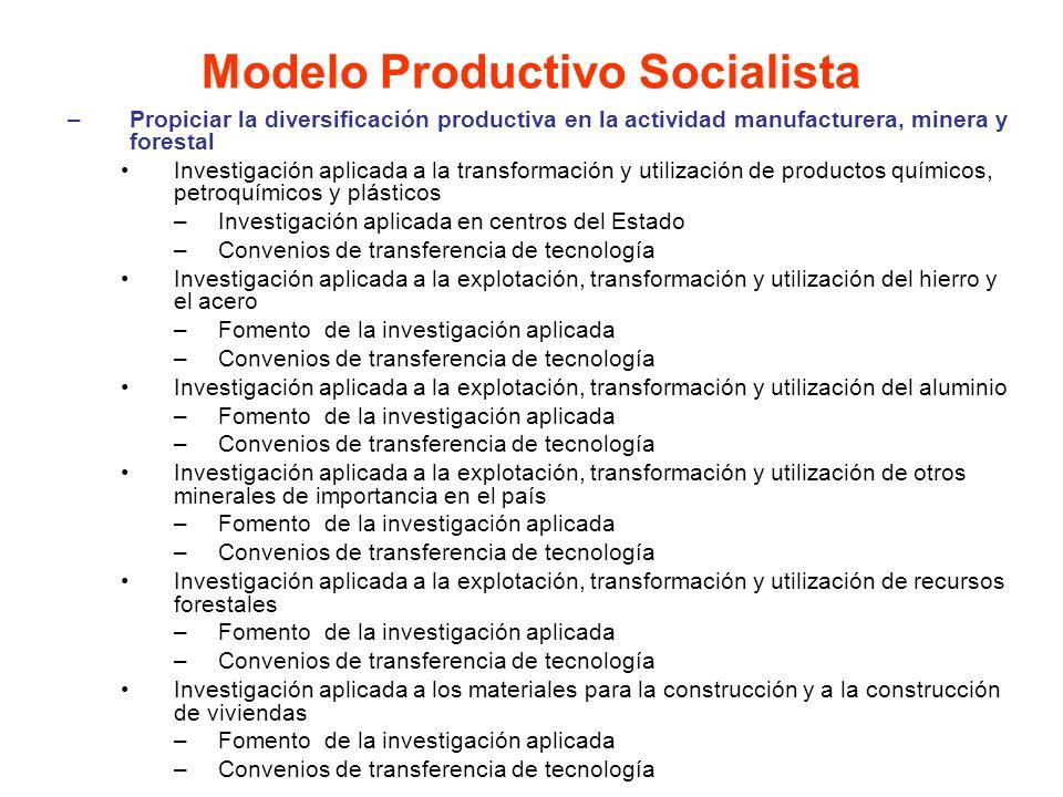 –Propiciar la diversificación productiva en la actividad manufacturera, minera y forestal Investigación aplicada a la transformación y utilización de