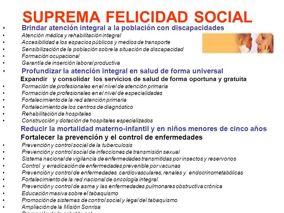 SUPREMA FELICIDAD SOCIAL Brindar atención integral a la población con discapacidades Atención médica y rehabilitación integral Accesibilidad a los esp