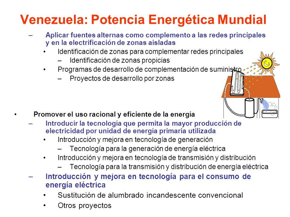 –Aplicar fuentes alternas como complemento a las redes principales y en la electrificación de zonas aisladas Identificación de zonas para complementar
