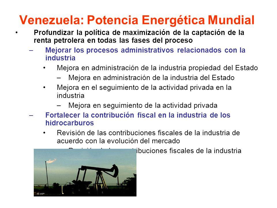 Profundizar la política de maximización de la captación de la renta petrolera en todas las fases del proceso –Mejorar los procesos administrativos rel