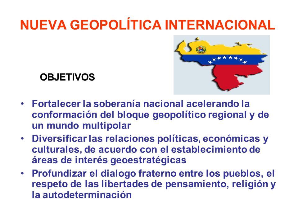 NUEVA GEOPOLÍTICA INTERNACIONAL OBJETIVOS Fortalecer la soberanía nacional acelerando la conformación del bloque geopolítico regional y de un mundo mu