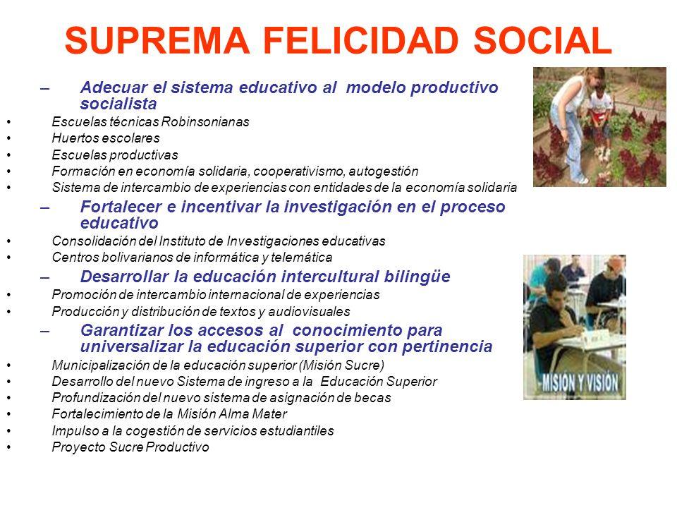 SUPREMA FELICIDAD SOCIAL –Adecuar el sistema educativo al modelo productivo socialista Escuelas técnicas Robinsonianas Huertos escolares Escuelas prod