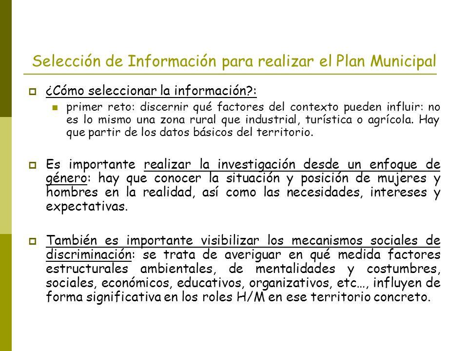 Selección de Información para realizar el Plan Municipal ¿Cómo seleccionar la información?: primer reto: discernir qué factores del contexto pueden in