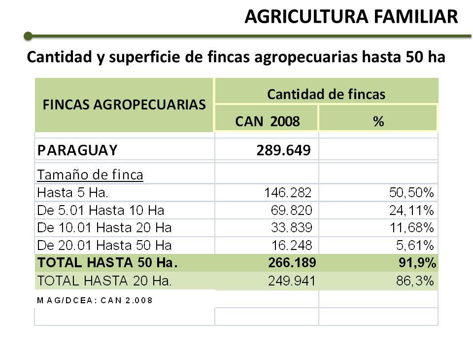 Cantidad y superficie de fincas agropecuarias hasta 50 ha AGRICULTURA FAMILIAR