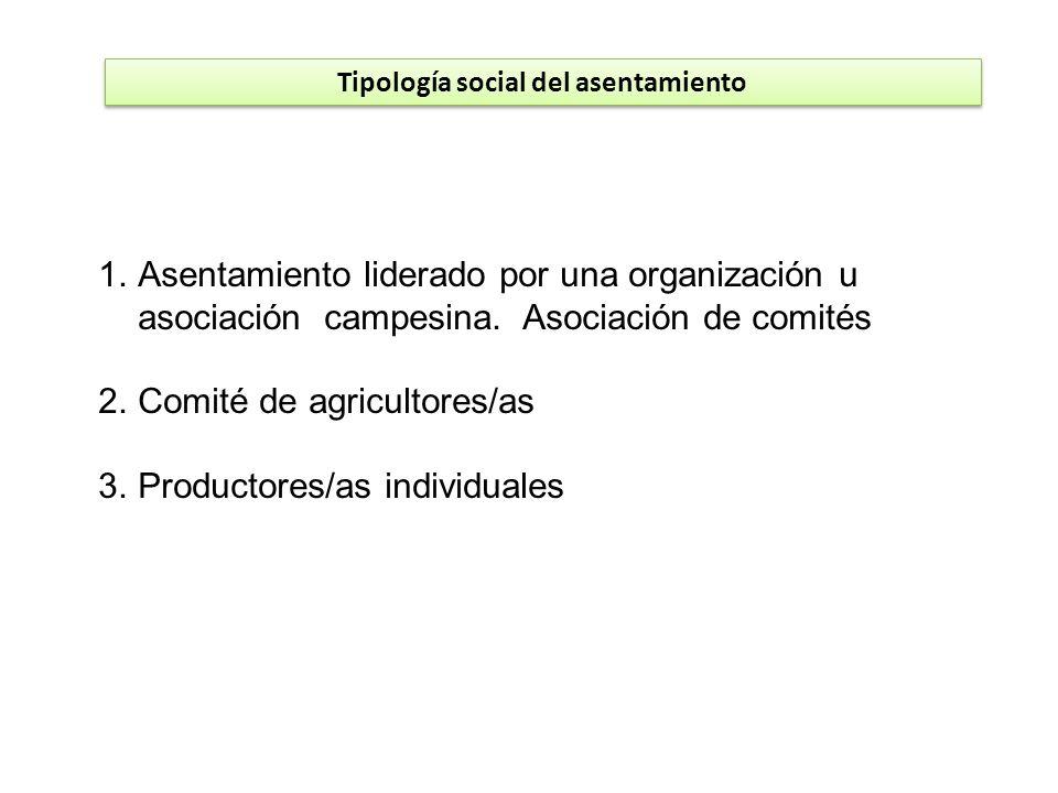 Tipología social del asentamiento 1.Asentamiento liderado por una organización u asociación campesina. Asociación de comités 2.Comité de agricultores/