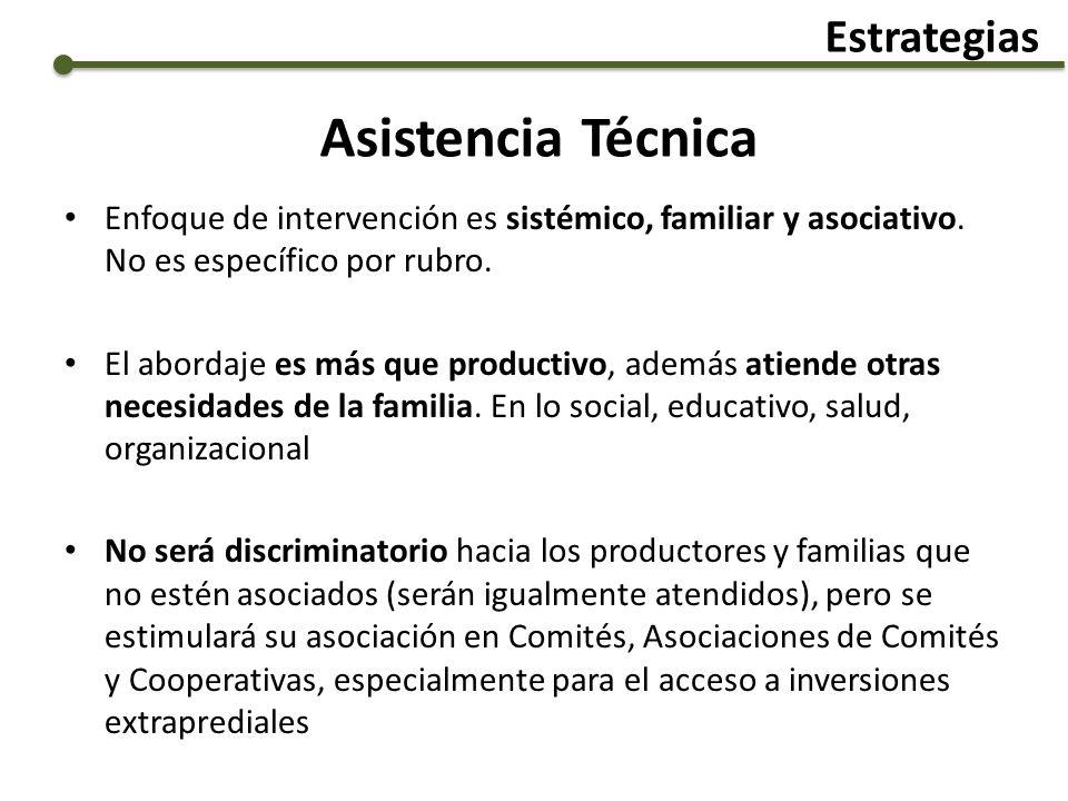 Asistencia Técnica Enfoque de intervención es sistémico, familiar y asociativo. No es específico por rubro. El abordaje es más que productivo, además