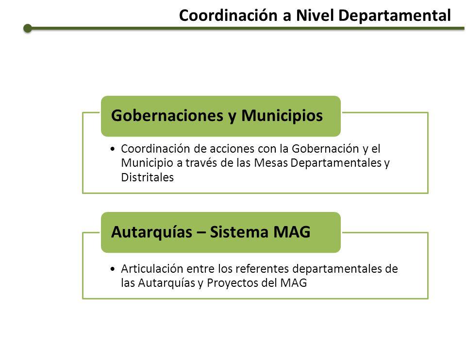 Coordinación a Nivel Departamental Coordinación de acciones con la Gobernación y el Municipio a través de las Mesas Departamentales y Distritales Gobe
