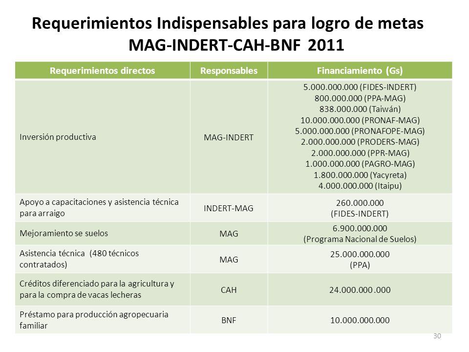 Requerimientos Indispensables para logro de metas MAG-INDERT-CAH-BNF 2011 Requerimientos directosResponsablesFinanciamiento (Gs) Inversión productiva