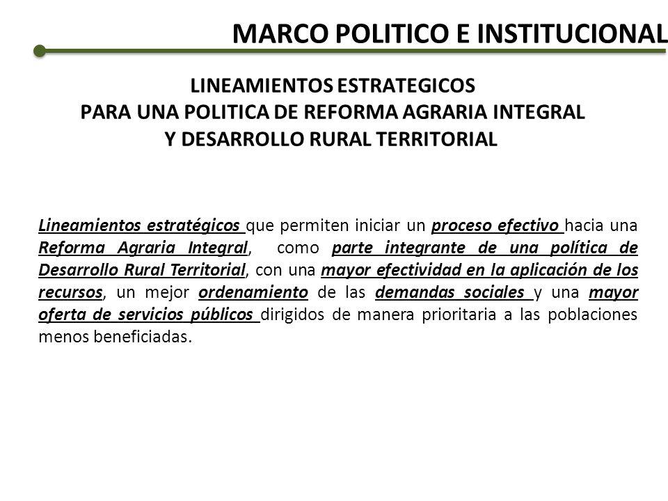 LINEAMIENTOS ESTRATEGICOS PARA UNA POLITICA DE REFORMA AGRARIA INTEGRAL Y DESARROLLO RURAL TERRITORIAL Lineamientos estratégicos que permiten iniciar