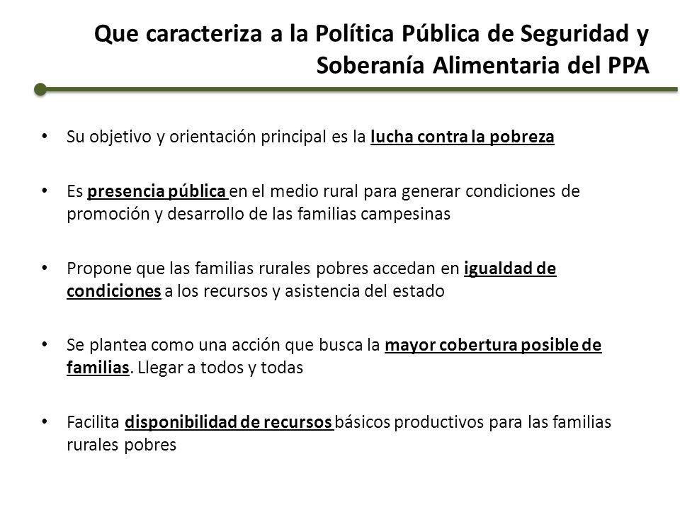 Que caracteriza a la Política Pública de Seguridad y Soberanía Alimentaria del PPA Su objetivo y orientación principal es la lucha contra la pobreza E