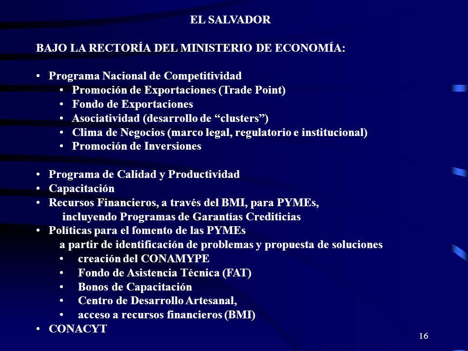 16 EL SALVADOR BAJO LA RECTORÍA DEL MINISTERIO DE ECONOMÍA: Programa Nacional de Competitividad Promoción de Exportaciones (Trade Point) Fondo de Expo