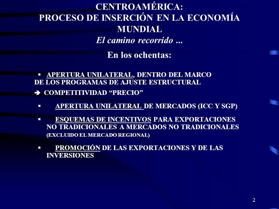 2 CENTROAMÉRICA: PROCESO DE INSERCIÓN EN LA ECONOMÍA MUNDIAL El camino recorrido... En los ochentas: APERTURA UNILATERAL, DENTRO DEL MARCO DE LOS PROG