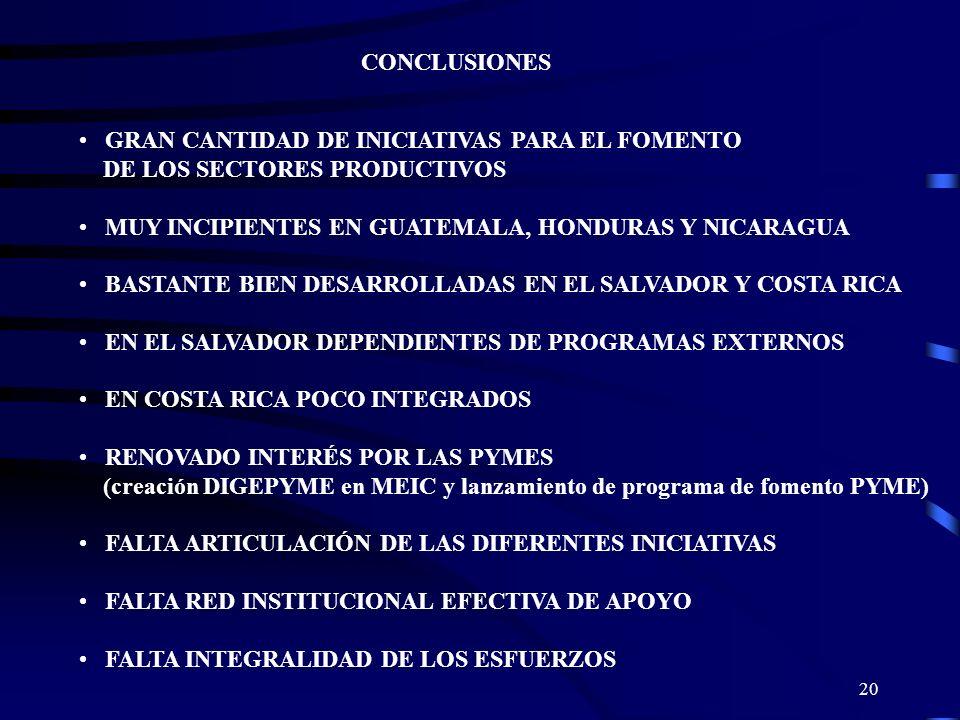 20 CONCLUSIONES GRAN CANTIDAD DE INICIATIVAS PARA EL FOMENTO DE LOS SECTORES PRODUCTIVOS MUY INCIPIENTES EN GUATEMALA, HONDURAS Y NICARAGUA BASTANTE B