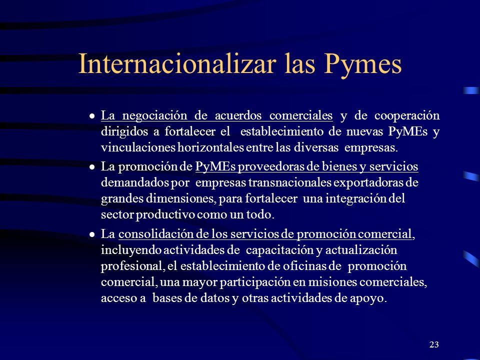 23 Internacionalizar las Pymes La negociación de acuerdos comerciales y de cooperación dirigidos a fortalecer el establecimiento de nuevas PyMEs y vin