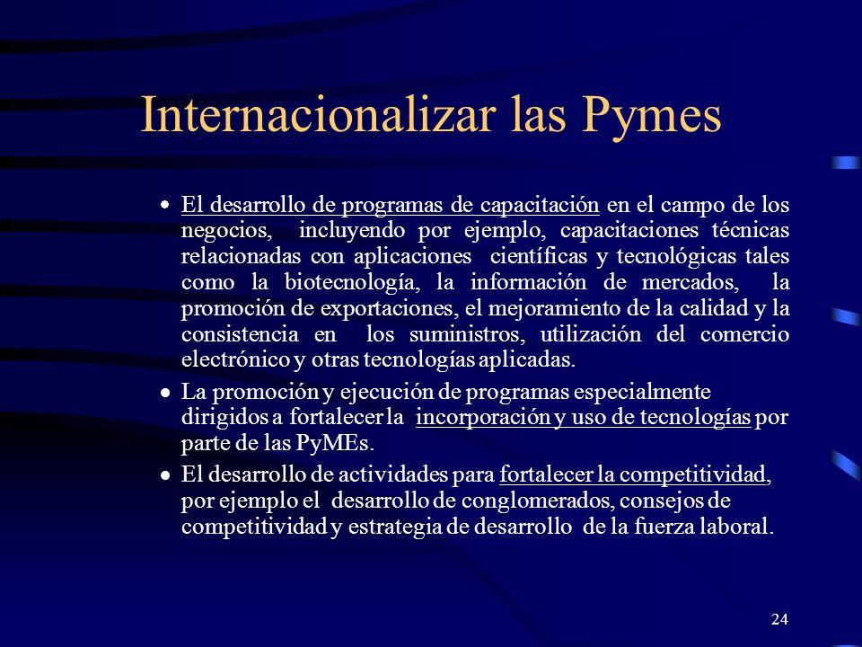24 Internacionalizar las Pymes El desarrollo de programas de capacitación en el campo de los negocios, incluyendo por ejemplo, capacitaciones técnicas
