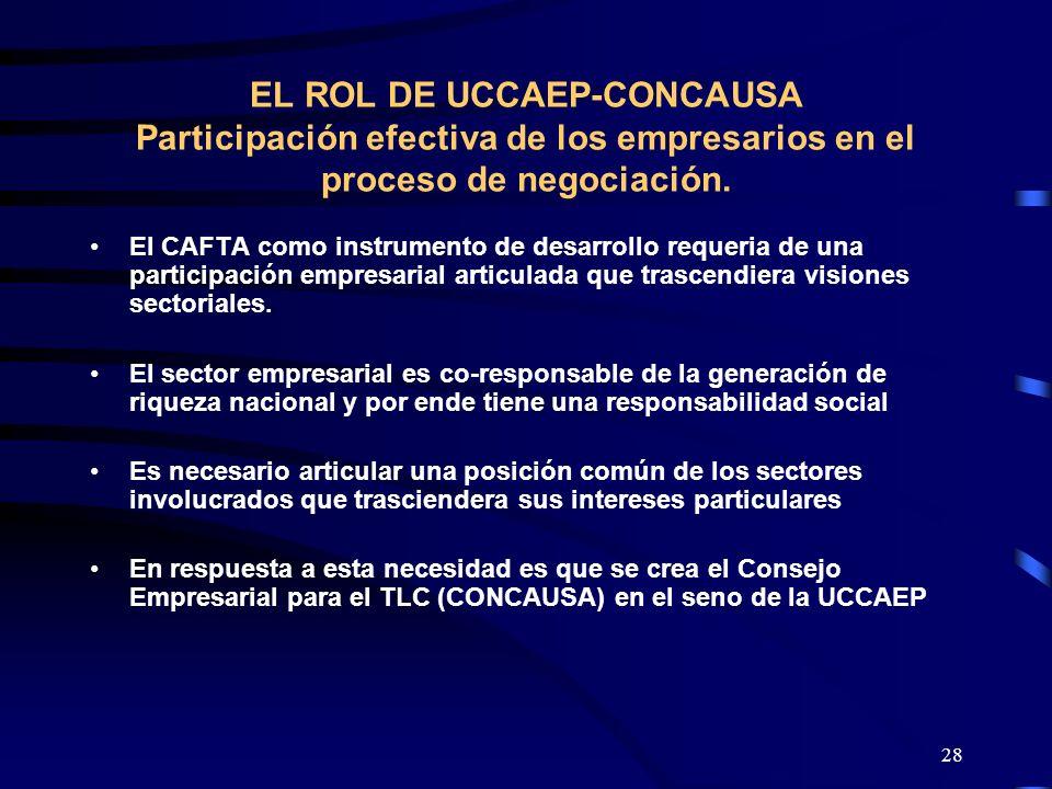 28 EL ROL DE UCCAEP-CONCAUSA Participación efectiva de los empresarios en el proceso de negociación. El CAFTA como instrumento de desarrollo requeria
