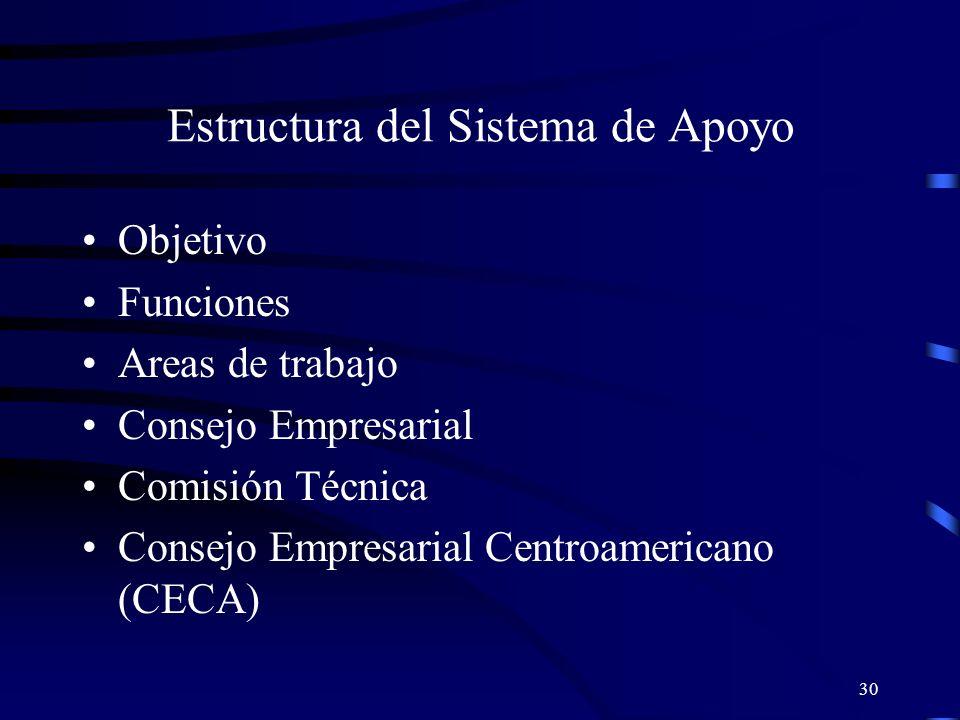 30 Estructura del Sistema de Apoyo Objetivo Funciones Areas de trabajo Consejo Empresarial Comisión Técnica Consejo Empresarial Centroamericano (CECA)