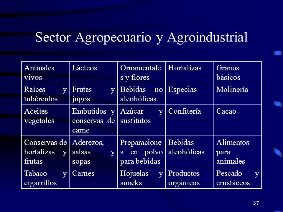 37 Sector Agropecuario y Agroindustrial Animales vivos LácteosOrnamentale s y flores HortalizasGranos básicos Raíces y tubérculos Frutas y jugos Bebid