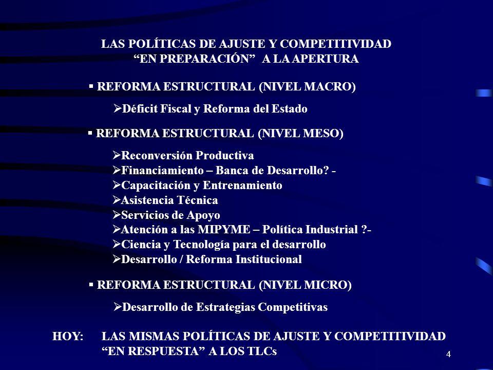 4 LAS POLÍTICAS DE AJUSTE Y COMPETITIVIDAD EN PREPARACIÓN A LA APERTURA REFORMA ESTRUCTURAL (NIVEL MACRO) Déficit Fiscal y Reforma del Estado REFORMA