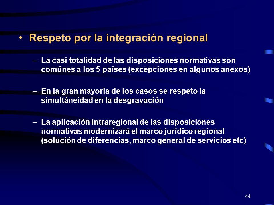 44 Respeto por la integración regional –La casi totalidad de las disposiciones normativas son comúnes a los 5 países (excepciones en algunos anexos) –
