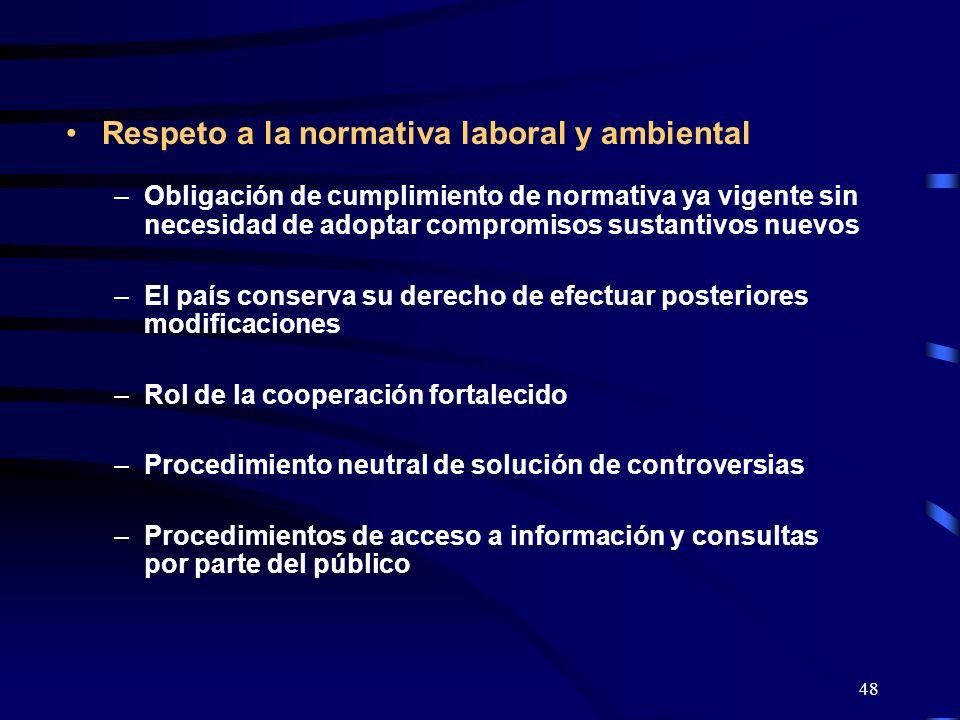 48 Respeto a la normativa laboral y ambiental –Obligación de cumplimiento de normativa ya vigente sin necesidad de adoptar compromisos sustantivos nue